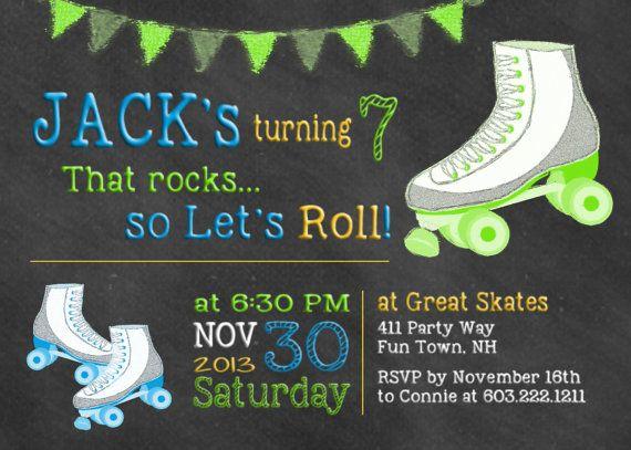 Free Roller Skating Birthday Party Invitations ~ Best roller skating party images roller skate