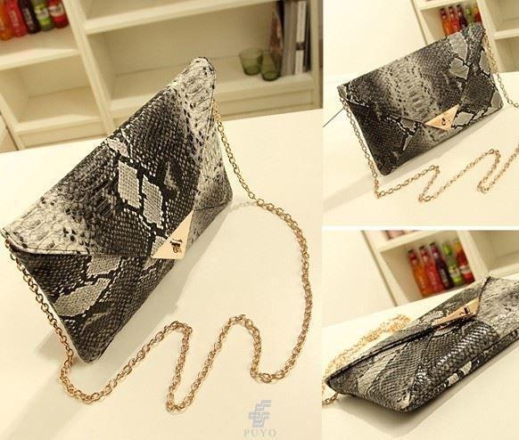 Ladies Snake Skin Leather Envelope Handbag Shoulder Bag Clutch / SHIP FROM AU