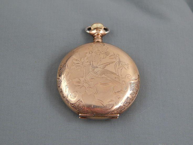 Vintage 1906 Elgin 7 Jewel Size 0 Pocket Watch Gold Filled Bird Hunter Case