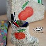 Child's+Boot+Pencil+Holder+Papier-Mâché