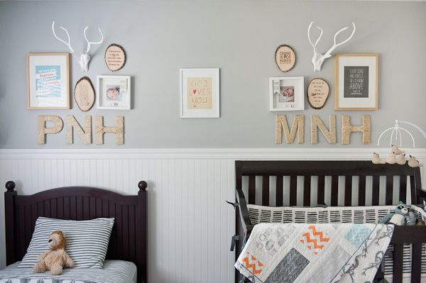 I  like the initials with the shadow boxes I've  their bed. Could also use their hand print an  name signs