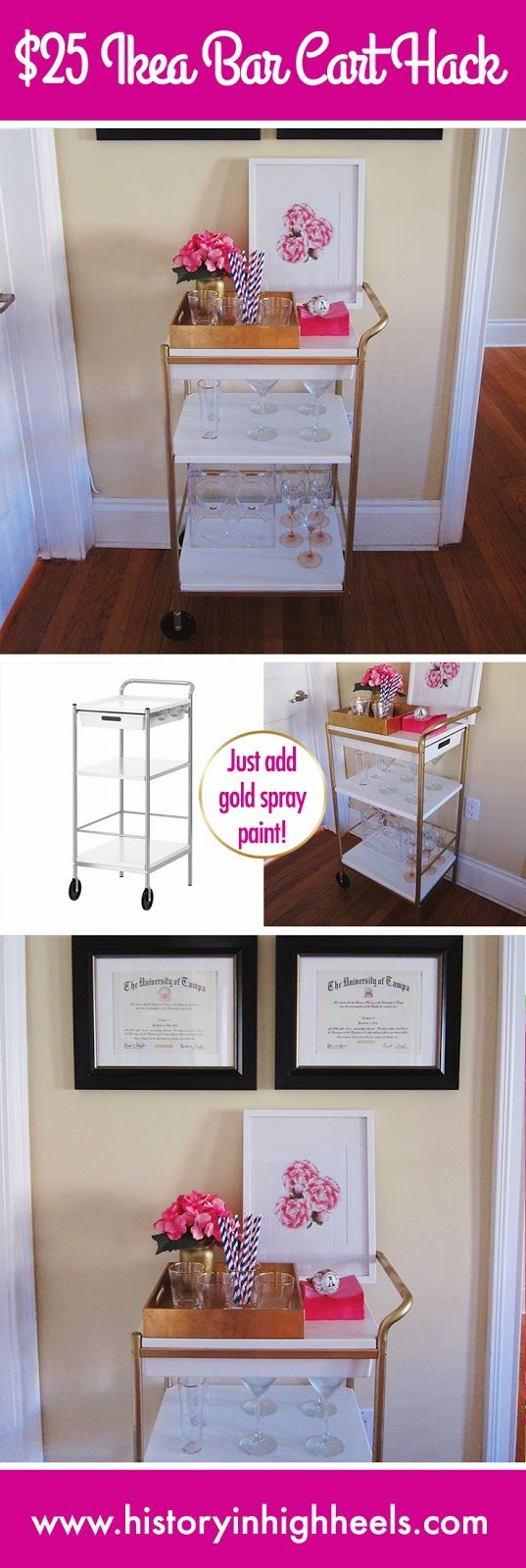 DIY: Ikea Bar Cart Hack I have the cart already. Don't necessarily want to do the gold but like it as a bar cart!
