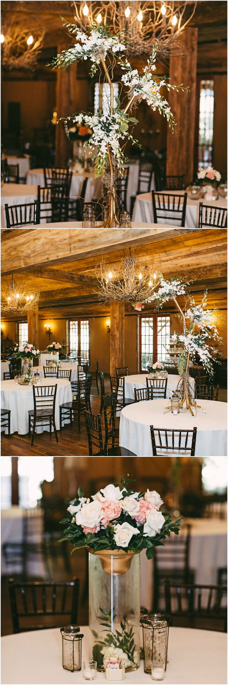 ideas for rustic wedding reception%0A Wedding reception d  cor  rustic venue  twig chandeliers  white and pink  rose centerpieces