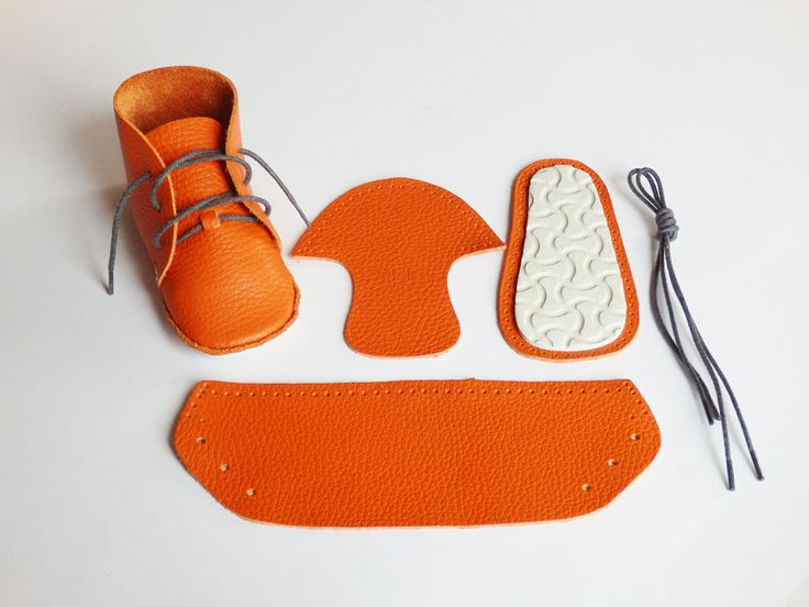 """!!!!!!!!!!"" ...is what you will hear when you deliver the orange leather booties you MADE with this kit to your favorite new mom."