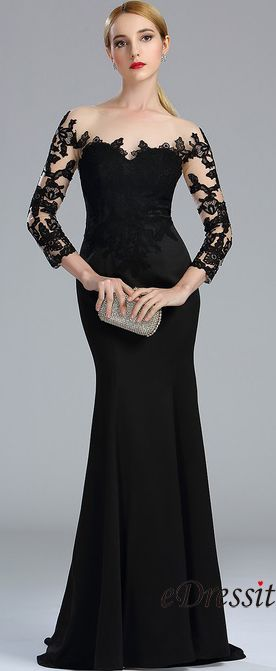 eDressit Black Long Sleeves Lace Evening Gown