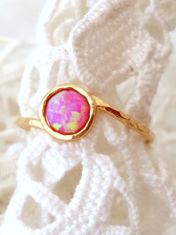 SALE Pink Opal ring Gemstone ring Gold ring by EldorTinaJewelry