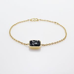 Raw cut diamond square bracelet with S-closure