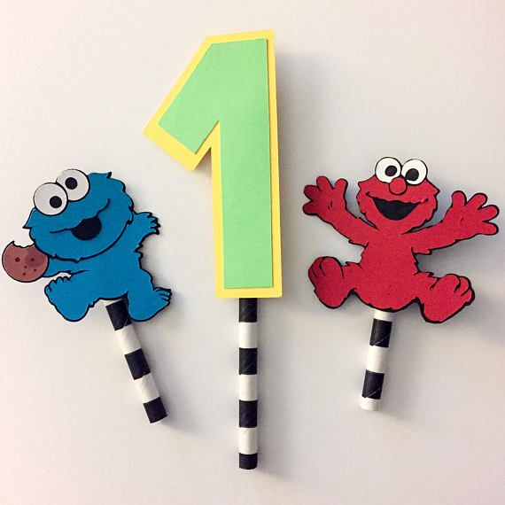 A trio cake topper includes premium cardstock cutouts of the Cookie Monster, Elmo and a number. When placing your order, please indicate the number. Other characters are available, please contact me for a quote.