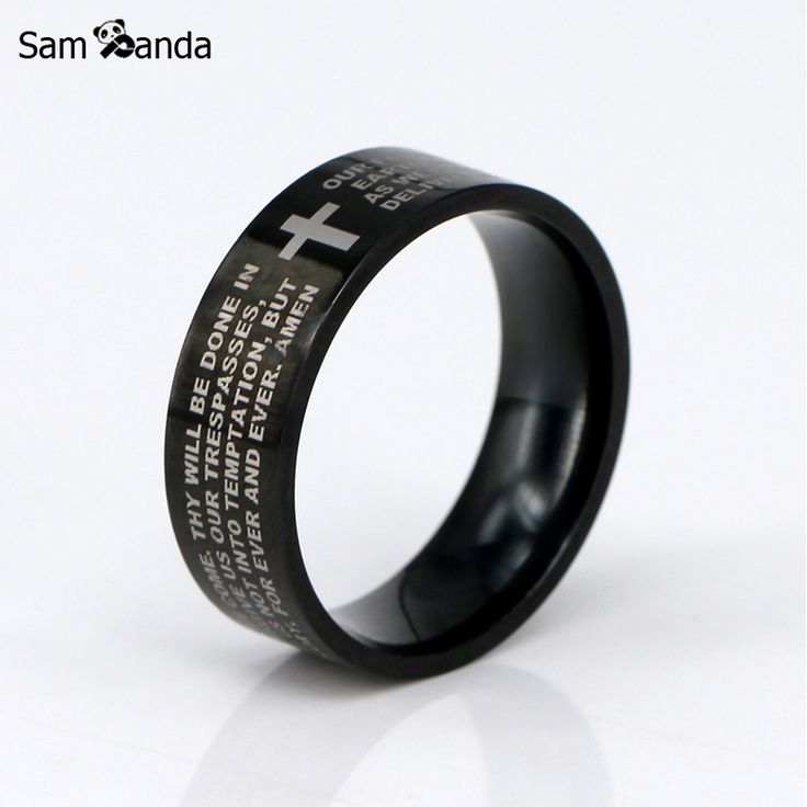 New English The Lord's Prayer Vintage Ring Men / Women Stainless Steel Cross Jewelry Mens Black Jesus Titanium Rings YK3050