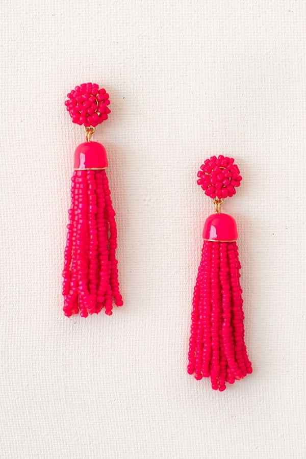 Blakely Seed Beaded Tassel Earrings - Hot Pink