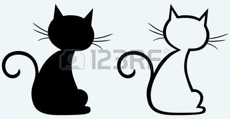 Schwarze Katzen Schattenbild Lizenzfreie Bilder