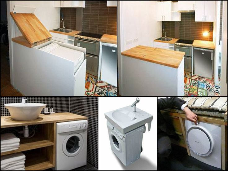 Lots of different places to hide a washer/dryer... #tinyhousehacks @JoeTHH www.tinyhousehack... facebook.com/tinyhousehacks