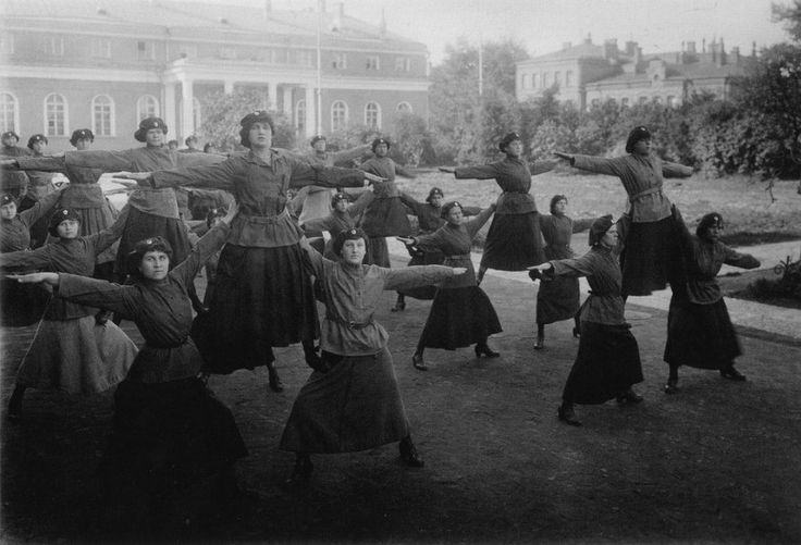 Policewomen doing gymnastics exercises, Soviet Union, early 1930s