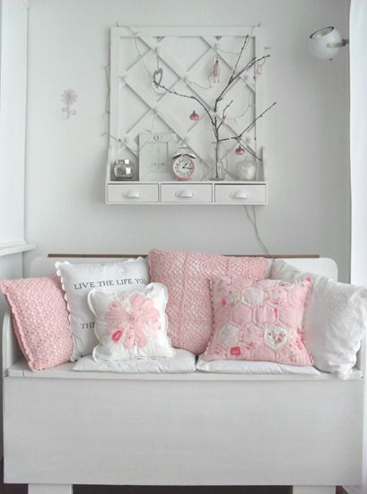 I love the shelf, the bench and all the lovely handmade pillows!