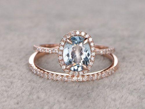 Aquamarine Bridal Ring Set In Bbbgem See Our March Birthstone Wedding Blue With