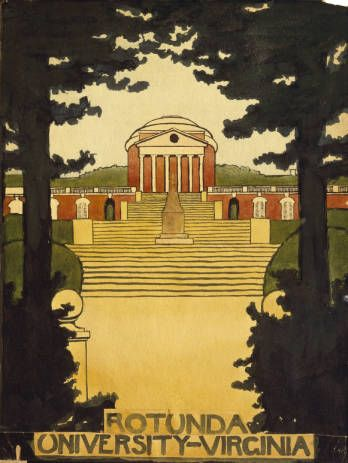 Did you know Georgia O'Keeffe lived in Charlottesville for a summer while she was taking an art class at UVA? Here's her painting of UVA's Rotunda.