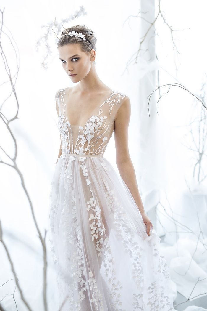 Calla - An Ethereal Wedding Dress by Mira Zwillinger | http://heyweddinglady.com/mira-zwillinger-wedding-dress-collection-spring-2017/