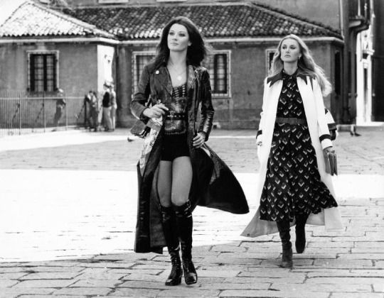 "ROASALBA NERI and Barbara Bouchet on the Venetian's locations shoot of Silvio Amadio's ""AMUCK"" 1972."