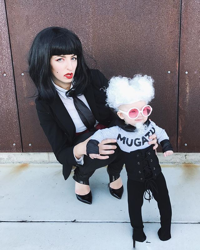 """""""I do not like snoopy reporter with lack of fashion sense, not one little bit."""" Katinka with her fashion boss Mugatu. I've been waiting to do this Zoolander costume for Lena for awhile—more pics to come cause you know I got dad involved  #mylenavi #mugatu #happyhalloween #halloweenbaby"""