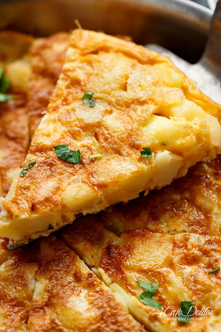 Spanish Omelette (Spanish Tortilla) is perfect served hot or cold, and so easy to make! Crispy, fried potatoes and eggs make up this popular Spanish Tortilla recipe, perfect for picnics, parties, bbq's, or your traditional Tapas menu! Upgrade your omelette!   https://cafedelites.com