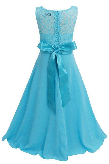 Tiaobug Blumenmädchen Kleid Kinder Mädchen Kleid festlich Brautjungfern Party Kleid Festzug Hochzeit 104-164 Blau 164