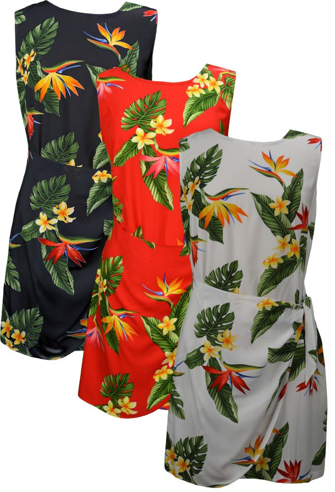 ef09c3958638 100% Rayon, RJC Brand - Puanani Label, Best Quality Made in Hawaii. Bird of Paradise  Display. Ladies Dress as a Side Tied Sarong with zipper back and Tummy ...