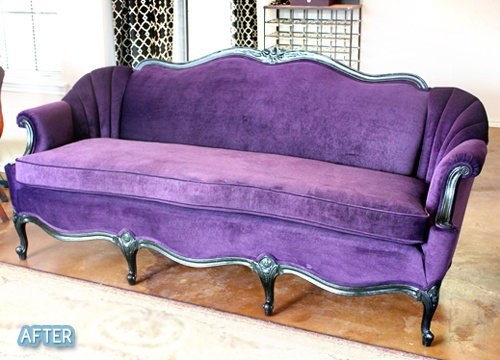 Repurposed.Purple Couch, Old Furniture, Purple Passion, Dreams Room, Sitting Room, Studios Couch, Purple Sofas, Beds Sets,  Day Beds
