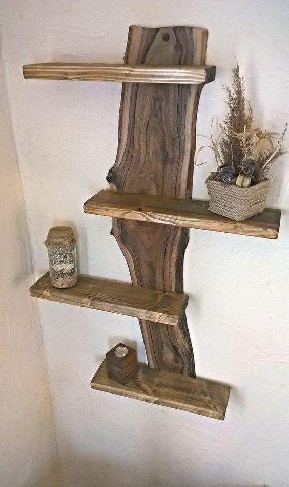 15 Designideen für Regale aus rohem Holz, schön anzusehen – Billy Nixon – #b … #WoodWorking