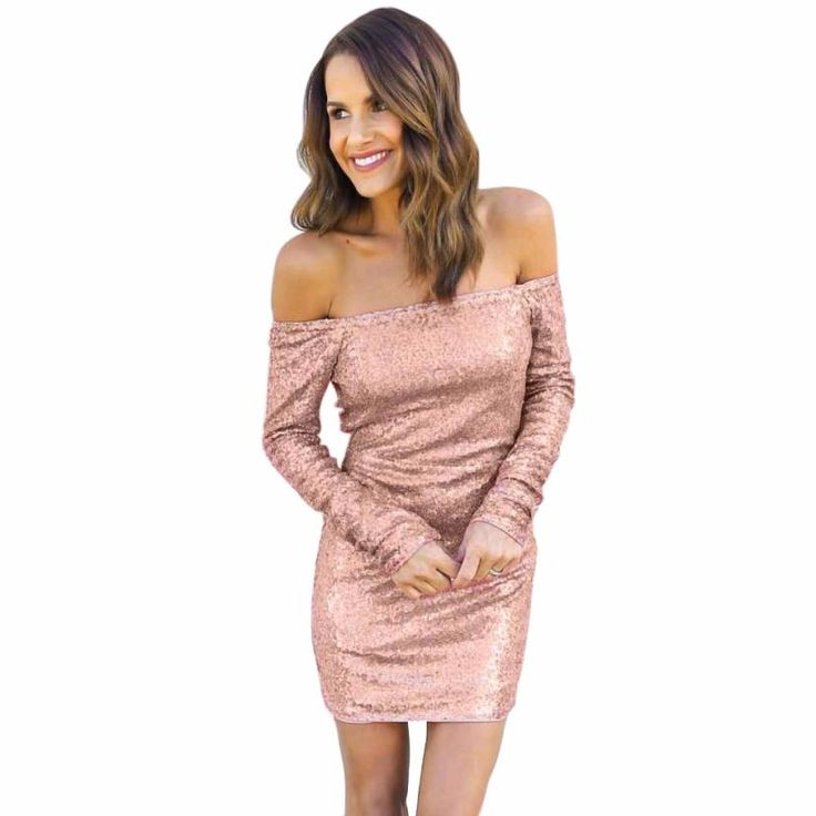Womens Sexy Dresses Party Night Club Dress Sequin Off Shoulder Women Long Sleeve Dress Vestido De Festa Curto #1226