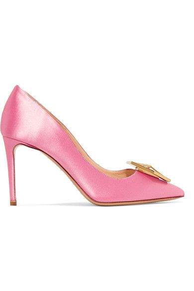Nicholas Kirkwood's 'Eden Jewel' pumps are embellished with a gleaming gold hexagonal plaque at the pointed toe that's highlighted by light-catching crystals. They have been expertly made in Italy from lustrous pink satin and are set on a slim 85mm heel. Showcase yours with cropped jeans or midi skirts.
