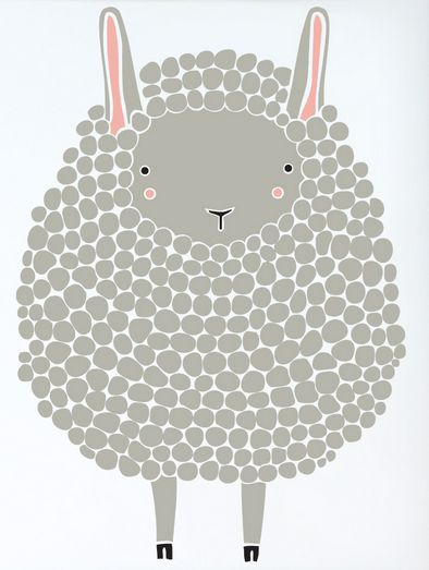 Gingiber Grey Sheep Print. This fluffy little friend has the sweetest face! Would look lovely paired with the Black Sheep print by Gingiber.  www.treehousekidandcraft.com