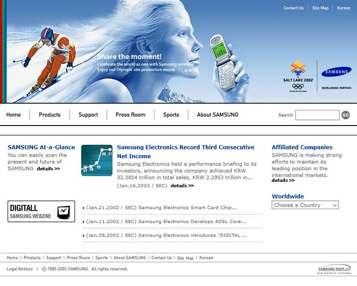 Samsung website in 2002