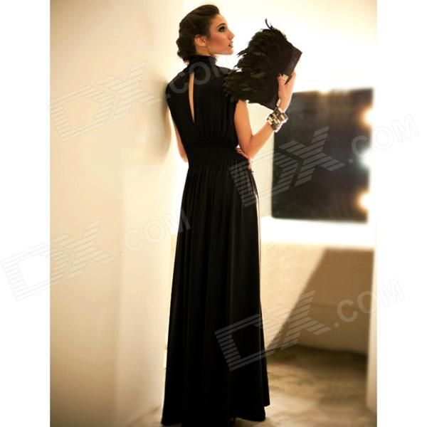 Fashionable Drape Collar Silk Cotton Evening Dress - Black - Free Shipping - DealExtreme