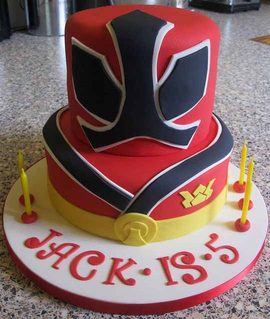 Power Ranger Cake by Rachel Manning Cakes, via Flickr. This style could be used but change black design & color depending on which ranger the birthday boy/girl likes.