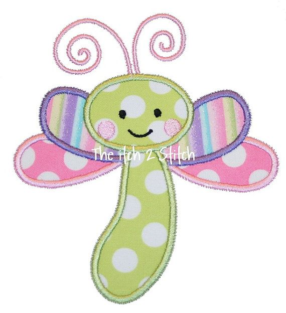 Baby Dragonfly Applique Design In Hoop Size(s) 4x4, 5x7, and 6x10 INSTANT DOWNLOAD now available