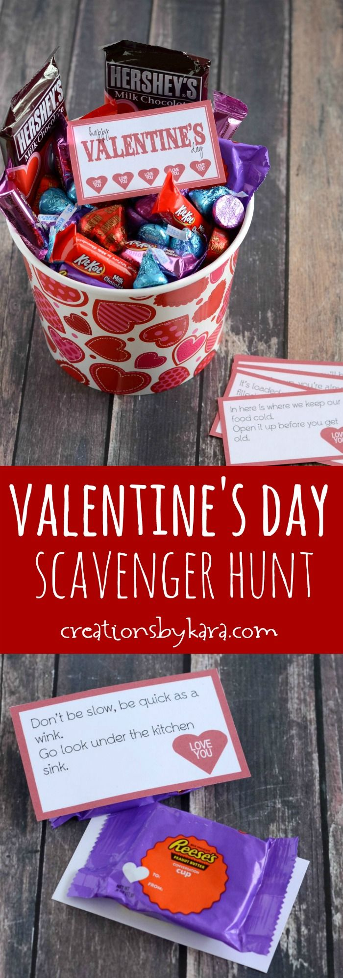 Use these FREE printable clues to make a fun Valentines Day scavenger hunt for your kids! Fun Valentine's Day activity.