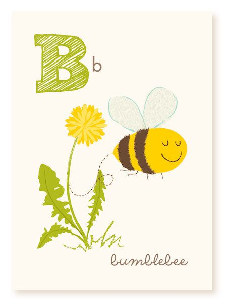 B is for bumblebee - ABC wall art - nursery wall art for kids