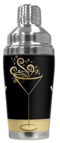 Mugzie® brand 16-Ounce Cocktail Shaker with Insulated Wetsuit Cover - Martini Gold by Art Plates. $25.95. Patent Pending. Truly unique. Over 300 different designs. Made in the USA. FREE SHIPPING.. Hand-sewn fabric cover is made from 1/4 inch closed-cell neoprene that is covered with soft, water-proof polyester fabric.. 16 Oz Stainless Steel Cocktail Shaker covered with water-proof, neoprene wetsuit material.. Stain-resistant cover is printed in hi-resolution a...