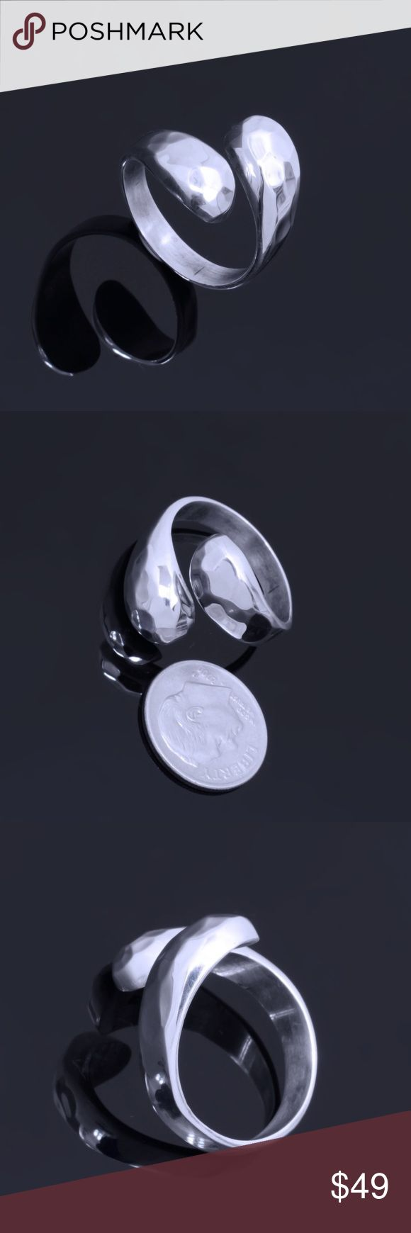 """Sterling Silver Ring Stamped """"925"""".   This is not a stock photo. The image is of the actual article that is being sold  Sterling silver is an alloy of silver containing 92.5% by mass of silver and 7.5% by mass of other metals, usually copper. The sterling silver standard has a minimum millesimal fineness of 925.  All my jewelry is solid sterling silver. I do not plate.   Hand crafted in Taxco, Mexico.  Will ship within 2 days of order. Jewelry Rings"""