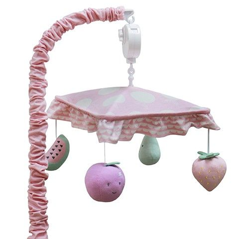 The Musical Mobile can be used to finish off the Jellybean theme or as a standalone feature in any little one's bedroom. Designed with the baby in mind so everything in focused downward toward the mattress. Canopy helps focus the baby on the characters suspended underneath, which in turn are positioned so they are best viewed from below. As your baby gets older and can sit up move the mobile so it is out of reach.