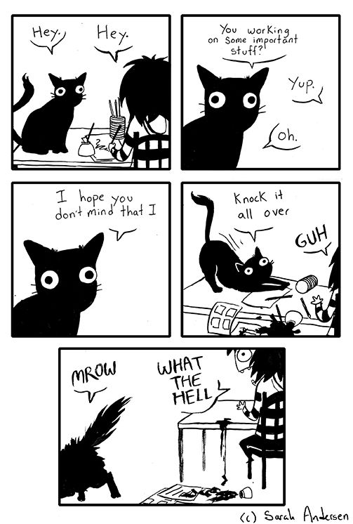 """After living with a cat for most of this year, I""""ve wanted to make comics about these mysterious animals and their strange behaviors for quite a while. I've alluded to a cat in a few of my more recent comics, but here he is in the flesh! (Oh and don't worry, the rabbit is still hanging around. There will never be any replacing him.)"""