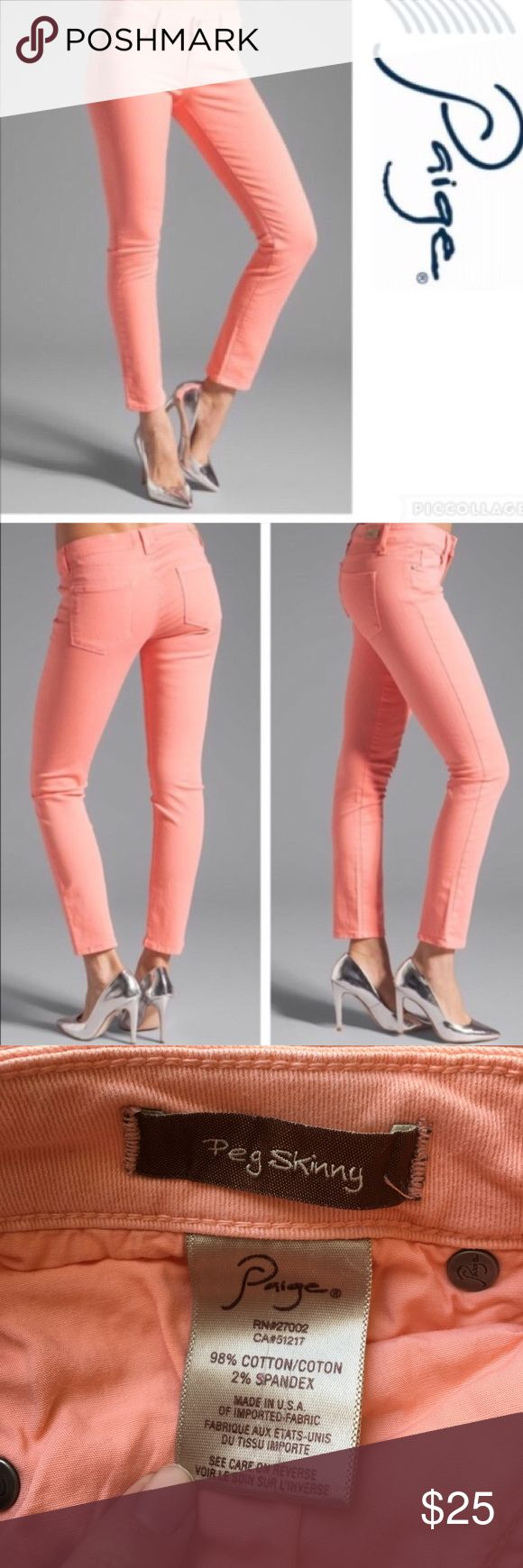 Paige Peg Skinny Coral Skinny Jeans EUC. No flaws. First two pics are the most accurate for fit and color. Paige Jeans Jeans Skinny