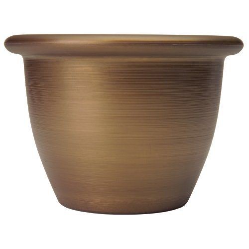 Listo SAA09001P04 Sevilla Planter, Majestic Bronze, 9-Inch Width by Listo. $10.42. This product comes in 3.86 quarts size; measures 9-inch outside width. The elegant textures, colors, and shapes create a distinctive accent to both indoor and outdoor settings. Its gently curved profile produces a container of exceptional grace; available in majestic bronze color. Sevilla planter. Combines the classic charm of old world pottery with the benefits and durability of light-weight res...