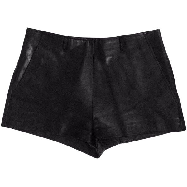 Pre-owned Maison Martin Margiela Leather Mini Short ($325) ❤ liked on Polyvore featuring shorts, black, women clothing shorts, mini shorts, hot pants, leather hot shorts, short shorts and mini short shorts