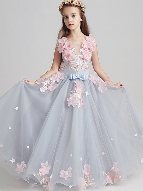 Fairy Style Sleeveless Round Collar Flower Long Dress with Free Shipping  f1654726fe5e