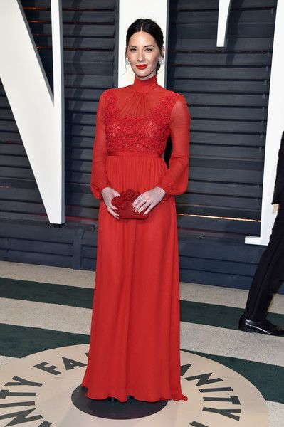 Olivia Munn in High-Neck Red - The Most Fabulous Dresses at the Oscar After Parties 2017 - Photos