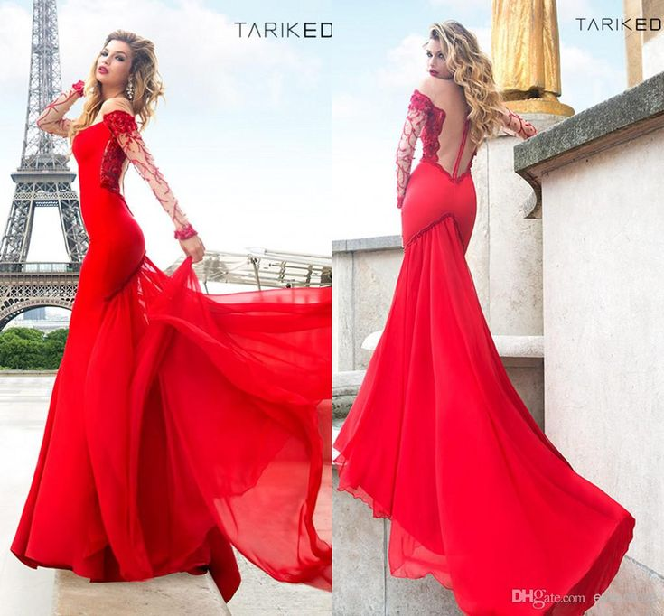 Tarik Ediz Red Prom Dresses 2014 Long Sleeve Beaded Sheer Crew Mermaid Court Train Chiffon Sexy Tulle Zip-up Evening Gowns Celebrity Dress