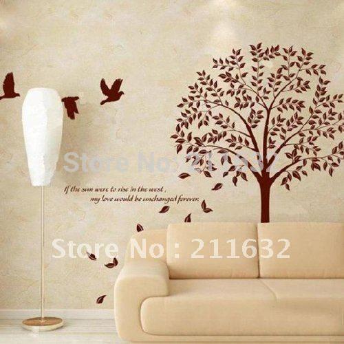 Пвх бесплатная доставка романтический дерево бодхи стены наклейка на стены оптовая продажа и розничная купить на AliExpress
