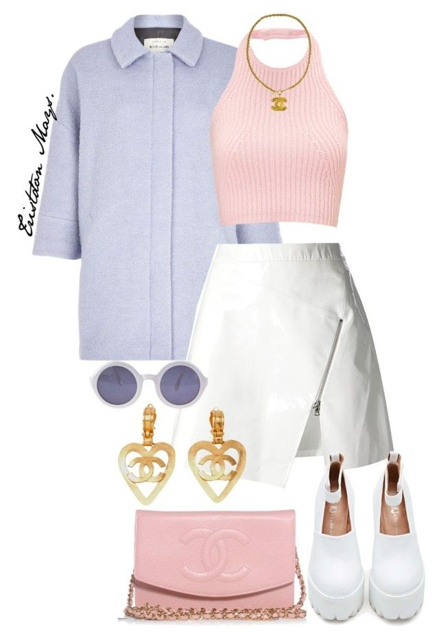"""Scream Queens Look #6."" by monroestyles ❤ liked on Polyvore featuring River Island, Markus Lupfer, Jeffrey Campbell, Chanel, WGACA and ScreamQueens"