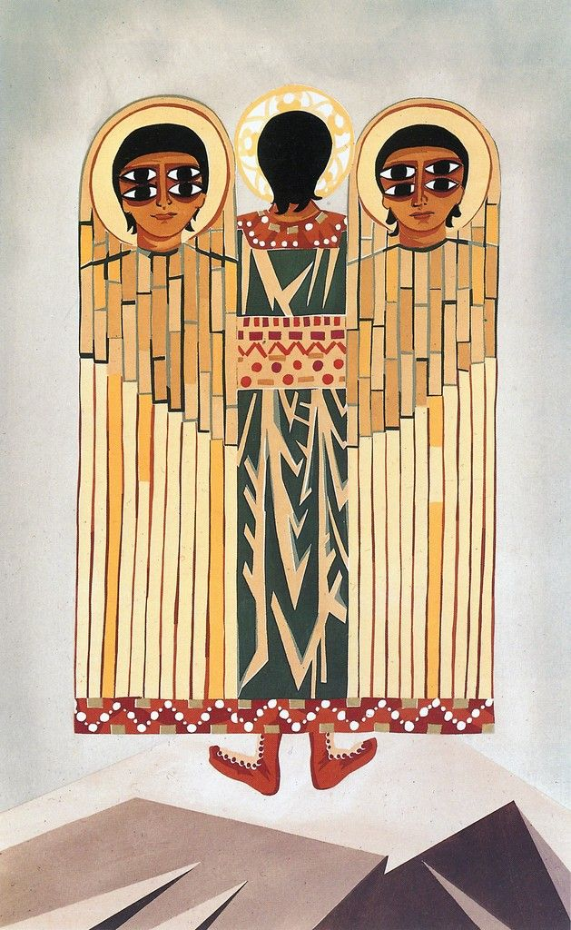 "NATALIA GONCHAROVA  Costume sketch for an angel, from the ballet to spiritual music ""Liturgy"", 1915  Watercolor on paper"